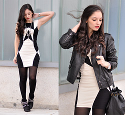 Alba . - Pull & Bear Leather Jacket, Motel Rocks Dress, Zara Boots - Dark Side...