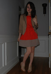 Felicia Froton - Express Coffee Blazer, Express Two Toned Dress, Tinley Road Nude Peep Toe Slingbacks - Talkin' Bout My Girl