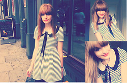 Lauren Park - Topshop Striped Dress, Lou Loves You Peter Pan Collar - Lola Loves You
