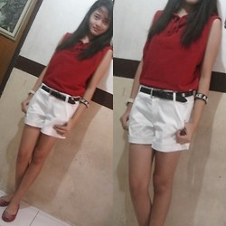 Princess Manuel - Mnj Red Flats, Gap Sleeveless Hoodie, Scarlette White Shorts - Mr. Cupid, go easy on me