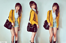 Cindy Ashes - Mustard Cardigan, Black Sling Bag - ! My Caramel Salt !