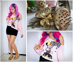 Stephiee Nguyen - Osaka, Japan Minnie Off Shoulder Top, Purrr Remake Gold Disco Bow, Melrose Military Bodycon Skirt, S E N O Gold Glitter Black Stud Flats, Etsy Big Gold Bow Necklace, Purrr Remake Cheetah Bow, Disney Couture Minnie X Mawi Ear Ring - Golden Bows & Sparkly Spikes