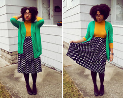 Bianca X - Vintage Dot Skirt, French Connection Uk Kelly Green Cardigan, Forever 21 Mustard Turtleneck, Urban Outfitters Pumps, Plum Tights - I wanna be ur SLEDGEHAMMER