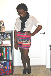 Valerie Black - H&M Shirt, Forever 21 Tribal Skirt, H&M Oxfords - School