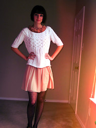 Sarah Bosserman - Thrift White Sweater, Zara Pink Dress, Swiss Tights - DON'T CRY BECAUSE IT'S OVER, SMILE BECAUSE IT HAPPEND