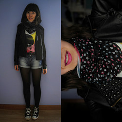 P. Herrero - Pepe Jeans Colourful T Shirt, Stradivarius Denim Shorts, Converse Black Sneakers, Stradivarius Faux Leather Jacket, Marie Claire Black Tights, Pink, Blue And Black Foulard - Disintegration.
