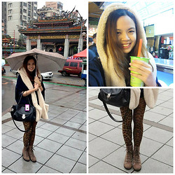 Dee Leah - Asos Cape, Taipei Leopard Print Leggings, Taipei Bear Ears Scarf, Taipei Laced Up Boots - Less than 3 Taiwan