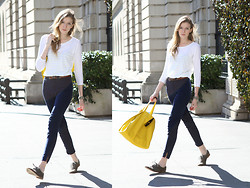 Leslie K - Gap Striped Tee, American Apparel Pants, Gap Leather Tote, Gap Suede Shoes - It's Spring Somewhere