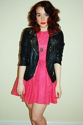 Demi Lauren Abbott - Goldie Studded Jacket, Primark Pink Lace Dress, Vintage Chain - I heart pink