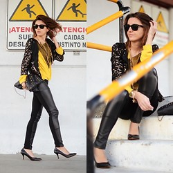 Alexandra Per - Mentirosas By Fernando Claro Tee, Mango Jacket, Zara Shoes, Queens Wardrobe Pants, Blanco Clutch - Yellow in