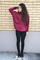 Sheila Almasi - New Yorker Wine Red Blouse, Vila Jeans, Vagabond Shoes - Wine Red