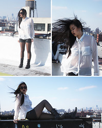 Katie Li - Chiffon Shirt, Leather Shorts, Combat Boots, Oversized Sunnies - Twenty-two with the city behind me. Literally.