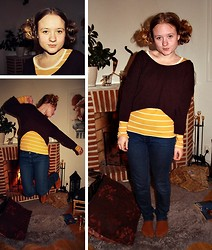 Linnéa B - Monki Purple Sweater, Gina Tricot Yellow/White Shirt, Bik Bok Blue Jeans - Leia? Linnéa?