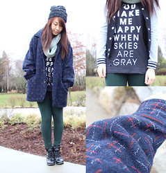 Janet ▲ - Forever 21 Dark Grey Top, Forever 21 Baseball Jacket, Zara Pants - You make me happy when skies are gray