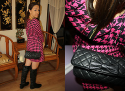 Hannah Meegan - H&M Pink And Black Houndstooth Dress, Forever 21 Quilted Bow Handbag, June Black Knee High Boots - Girls Just Want to Have Fun