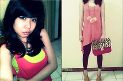 Miiniidewii Iiwediiniim - Stabilo Tops, Fairyberry Shoesgallery Riri Wedges, Miu Legging Basic, Solo Leopard Bag, D.I.Y Pom Pom Necklace, Topshop Long Tanktop Basic - D.I.Y pom pom necklace