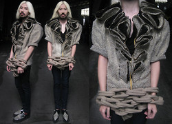 Andre Judd - Protacio Gold Flecked Tweed Jacket With Ruffles, Knit Chain, Alexander Wang Plunging Tee, Underground Snow Leopard Creepers - TWUFFLE