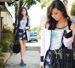 Kryz Uy - Eudora Lavander Blazer, Romwe Floral Skirt, Prada Bag, Mango Top, Sm Acc Necklace, So Fab Flats - Suit yourself