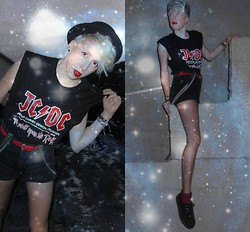 Hannah Morrissey - Creepers Underground, Charity Shop Jcdc Shirt, H&M Ripped Shorts, Charity Shop Braces, Ebay Bowler Hat, Vinatge Belt, Dorothy Perkins Socks - JCDC- Jesus Christ Demon Crusher!