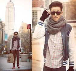 Adam Gallagher - Scarf, Heritage 1981 Varsity Jacket, Topman Shirt - Empire State Building