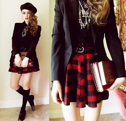 Bebe Zeva - Burberry Blazer, Yes Style Red Plaid Skirt, This Is Transition Jewelry - MY BOOKSTORE BEST