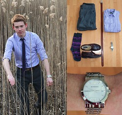 Phil Stalder - Projekraw Grey Pants, Mexx Purple Shirt, Bostonian Brown Loafers, Cole Haan Socks, Burberry Wrist Watch - Still Searching