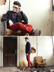 Vladan Gavric - Zara Boots,Trousers And Blazer, Vintage Sweater And Frames - Got a thing for ruins.