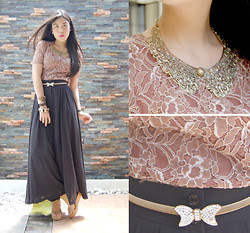 Kristine Villano - Lace Top, Belt, Pallazo Pants, Janylin Nude Wedges - Somebody that I used to know