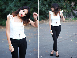 Alana G - For Sale Vintage Creme Top, High Waist Black Jean, Jeffrey Campbell Wedge Maryjane Platform - Tear