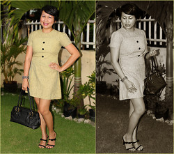 Ms. Chique - Mossimo Bow Tied Sandals, Stone & Co. Black Handbag, Hongkong Floral Pearl Bangles, Mom's Closet Tailored Fit Dress - My loVe, taKe Me baCk to the 1960s