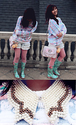 Jen L - Pearl Collar, Vintage Pastel Kitten Sweater, Ruffle Denim Shorts, Rose Tights, Baby Blue Rainboots, Guess? Pink Lace Bag, Cherry Pompom - Pastel rain