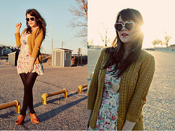 Selective Potential - Agar Cardigan, Modcloth Heart Sunnies, Forever 21 Heart Necklace, Modcloth Delightfully Tacky Dress, Seychelles Hawk Wedges - Love in the sun
