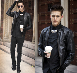 Adam Gallagher - Jacket, Topman Chrome Necklace, Topman Black Shirt, American Apparel Fingerless Gloves - Leather & chrome