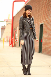 Delmy Rivera - Ecote Knit Hat, Topshop Leather Jacket, Dolce Vita Maxi Body Con Dress, Prada Lace Up Booties - Stripes Here and There
