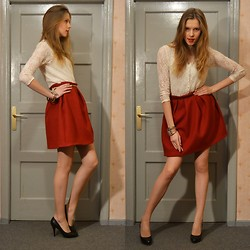 Andra Kreslina - Vintage Lace Top, Self Made Pleated Skirt - Cherry Pie