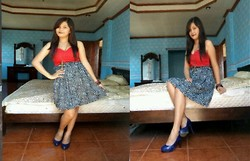 Ella Sunga - Kashieca Red Corset, I Made This Skirt :) Blue Print, Forever 21 Cross Necklace - Space between a blink