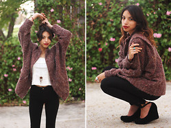 Alana G - For Sale Vintage Boxy Cardigan, American Apparel High Waist Black Jean, Jc Wedge Maryjane Platform - Burg