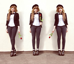 Charlotte Clothier - Flower Shop Rose, Charity Shop Black Beret, Hand Made Diy Pin Black Bow Badge, New Look White School Shirt, New Look Black Blazer, Topshop Grey Skinny Jeans, Select Fashion Black Bow Shoes -  A DATE WITH POPPY