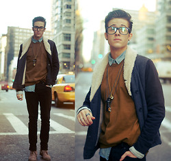Adam Gallagher - Lamb & Flag Jacket, American Apparel Caramel Shirt, Topman Necklaces - Caramel & chains