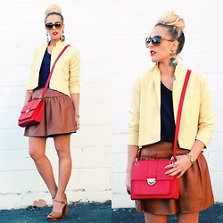 Beth Jones - Banana Republic Red Satchel, Sam Edelman Nude Wedges - Colorblocking Leather