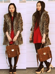 Jessica Wu - Cotton Candy Coat, Tj Maxx? Dress, Oasap Satchel, Heels - Leopard Love