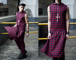 Paul Jatayna - Os Overbite Cap, Proud Race Tank Shirt, Proud Race Apron Skirt, Proud Race Drop Crotch Pants, Os Worship Choker - TEEN TARTAN