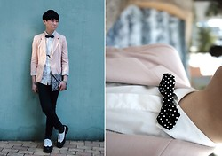 Edward Poon - H&M Dot Socks, Comme Des Garçons Shoes, Hare Dot Bow Tie, Cotton On Blazer, Pull & Bear Moustache Necklace, H&M Snake Skin Clutch - Happy Valentine's Day!!!