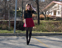Niki Adams - Leah Larue Headband, Target Bow Top, Forever 21 Skirt, Wal Mart Tights, Gianni Bini Shoes - I miss valentines day already.