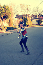 Hannah - Pacsun Plaid Button Up, Target Purple Socks, Model's Own Vintage Trumpet, Thrifted Leather Vintage Vest, H&M Leggings, Kensie Combat Boots, H&M Fur Hat - Leather & Plaid in Combat