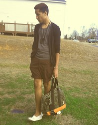 David Christian - Black Cardigan, All Son Army Duffy Bag, Forever 21 Cross, Rugged Outfitters Brown Shorts, Toms Cream, Gray Tank Top - Legs