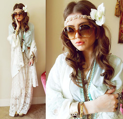 Bebe Zeva - Romwe Mint Blouse, Victoria's Secret Lace Robe, Chic Wish Lace Maxi, House Of Harlow 1960 Circle Sunglasses, Sproos Rose Headband - MINT HIPPIE