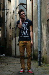 "Jay Maybry - Topman Wayfarer Glasses (Browless), Vans Red, River Island Brown ""Chinos"" Skinny Jeans, Topman ""Epic Fail"" T Shirt - There's Vanilla In This Dystopian Sky."
