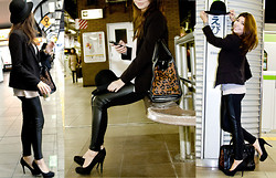 Rio FashionBento - Armani Exchange Blazer, Zara Leopard Print Bag, H&M Hat, Stradivarius Black Pumps, H&M Knit - Trainspotting in Ebisu