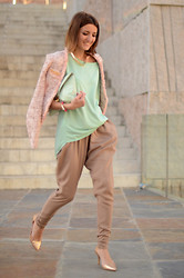 Alexandra Per - Queens Wardrobe Jacket, Blanco Top, Blanco Baggy Pants, Zara Shoes, Asos Clutch - Pastel life
